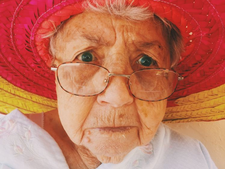 Grandma in a sun hat